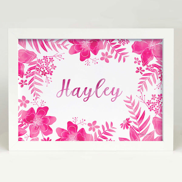 Pink Floral Name Bedroom or Nursery wall art
