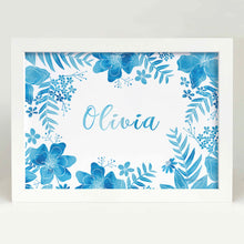Blue Floral Name Bedroom or Nursery wall art