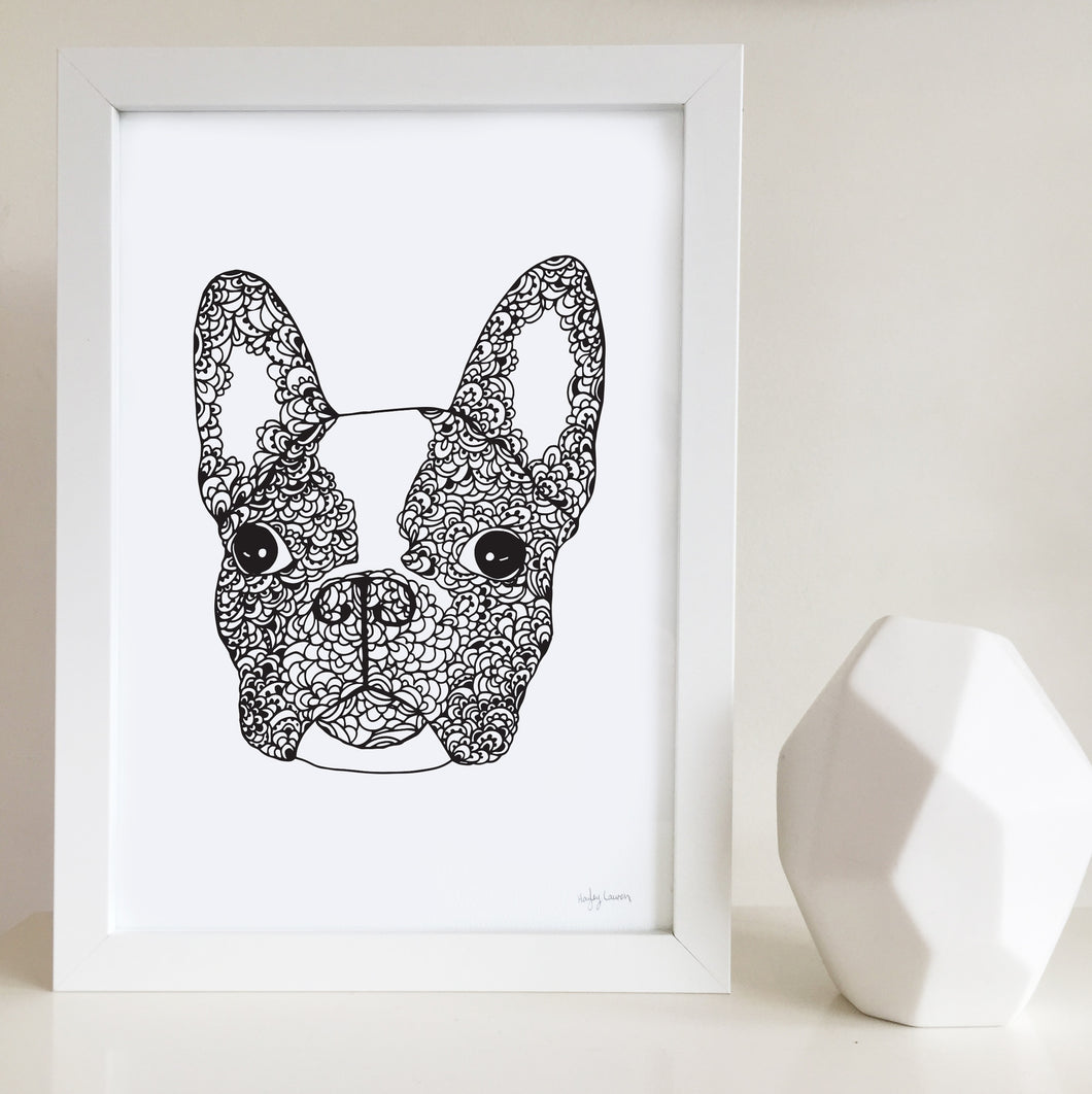 french bulldog art print zentangle