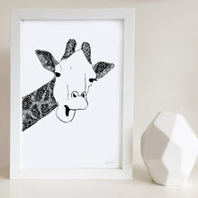 Giraffe nursery print for baby room by Hayley Lauren Design