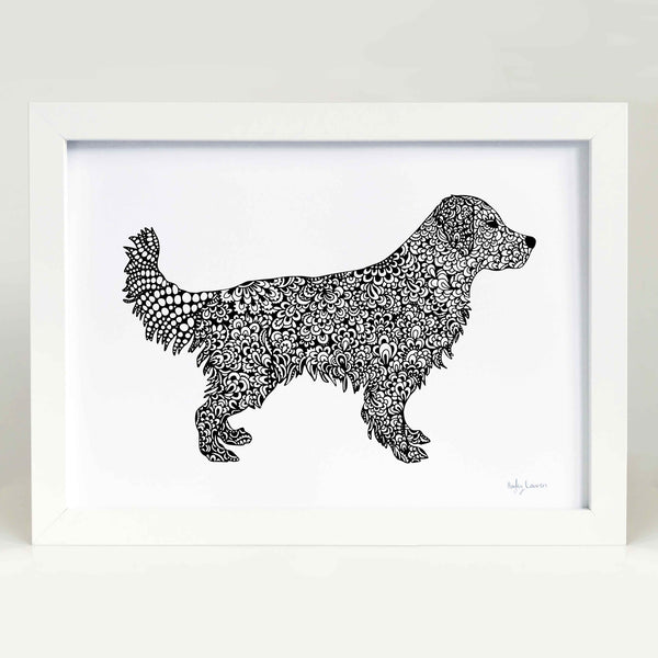 golden retriever zentangle art print