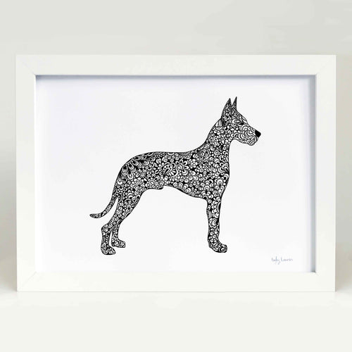 Great Dane dog art print zentangle