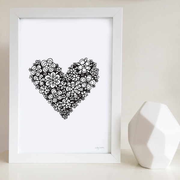 love heart zentangle artwork by Hayley Lauren Design