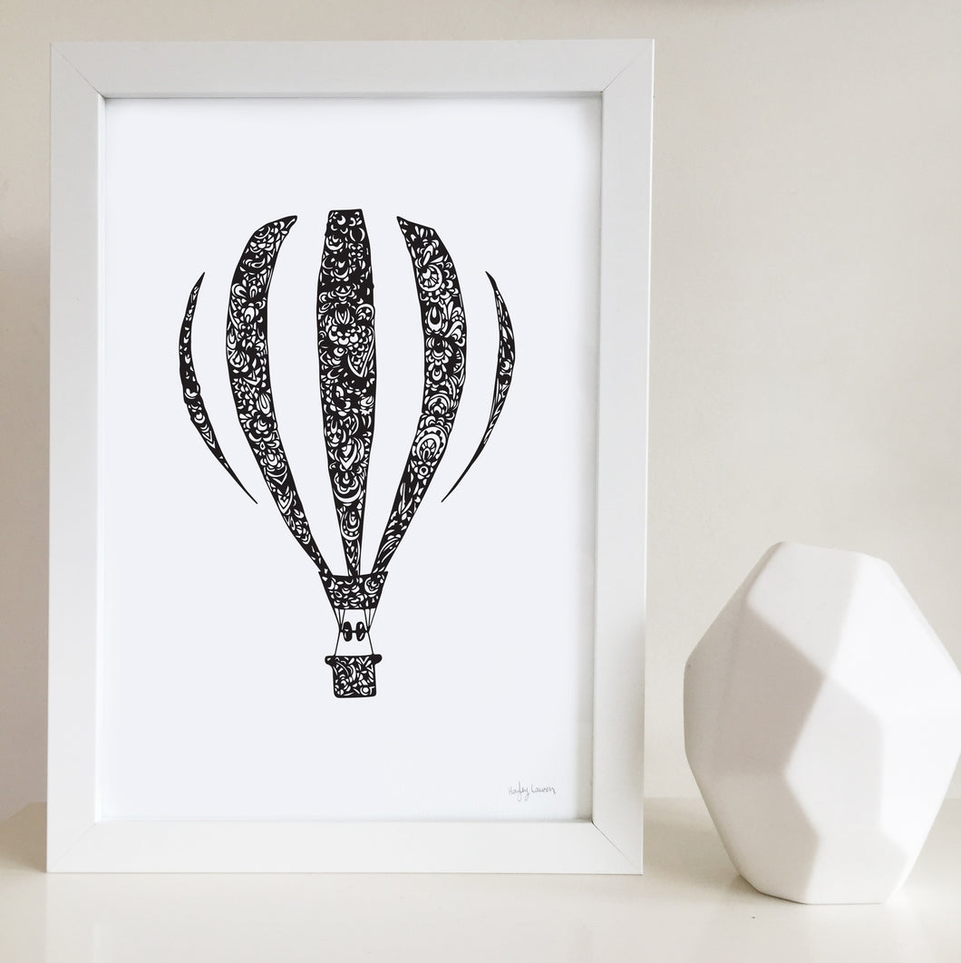 hot air balloon nursery or kids bedroom wall art print
