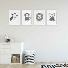 Jungle theme art prints for nursery or kids bedroom