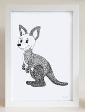 nursery or bedroom wall art of a happy kangaroo by hayley lauren design