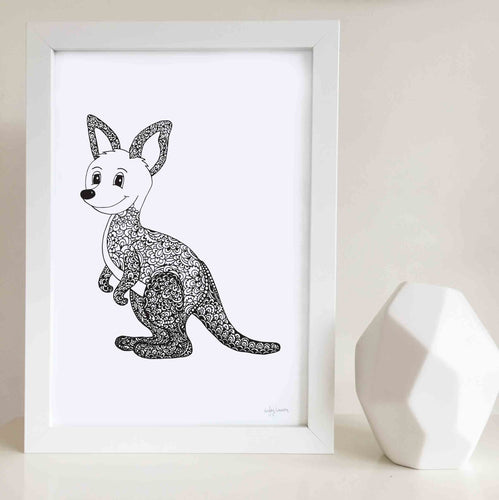 kangaroo wall art print for nursery or kids bedroom