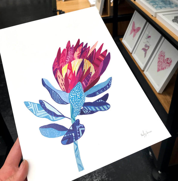 king protea artwork perfect gift for valentines day by Hayley Lauren design free shipping Australia wide