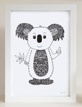 nursery or bedroom wall art of a happy koala by hayley lauren design