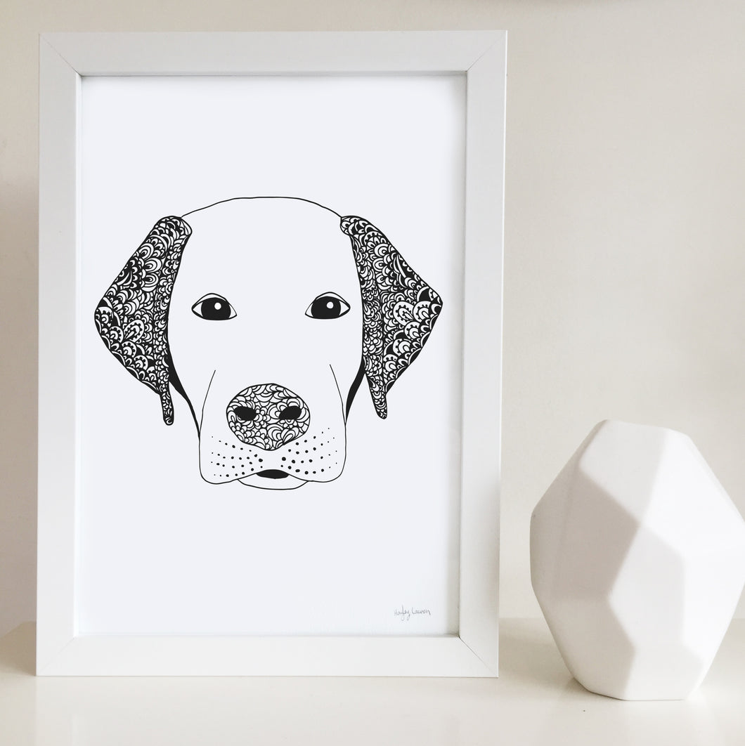 labrador dog art print zentangle