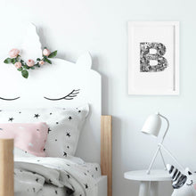 floral letter B black and white art illustration print young girl baby nursery toddler kids bedroom and play room by hayley lauren design free shipping australia wide