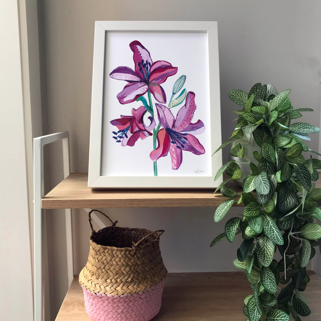 lily flowers artwork rainbow by Hayley Lauren Design affordable artwork for girls bedroom or living room free shipping australia wide