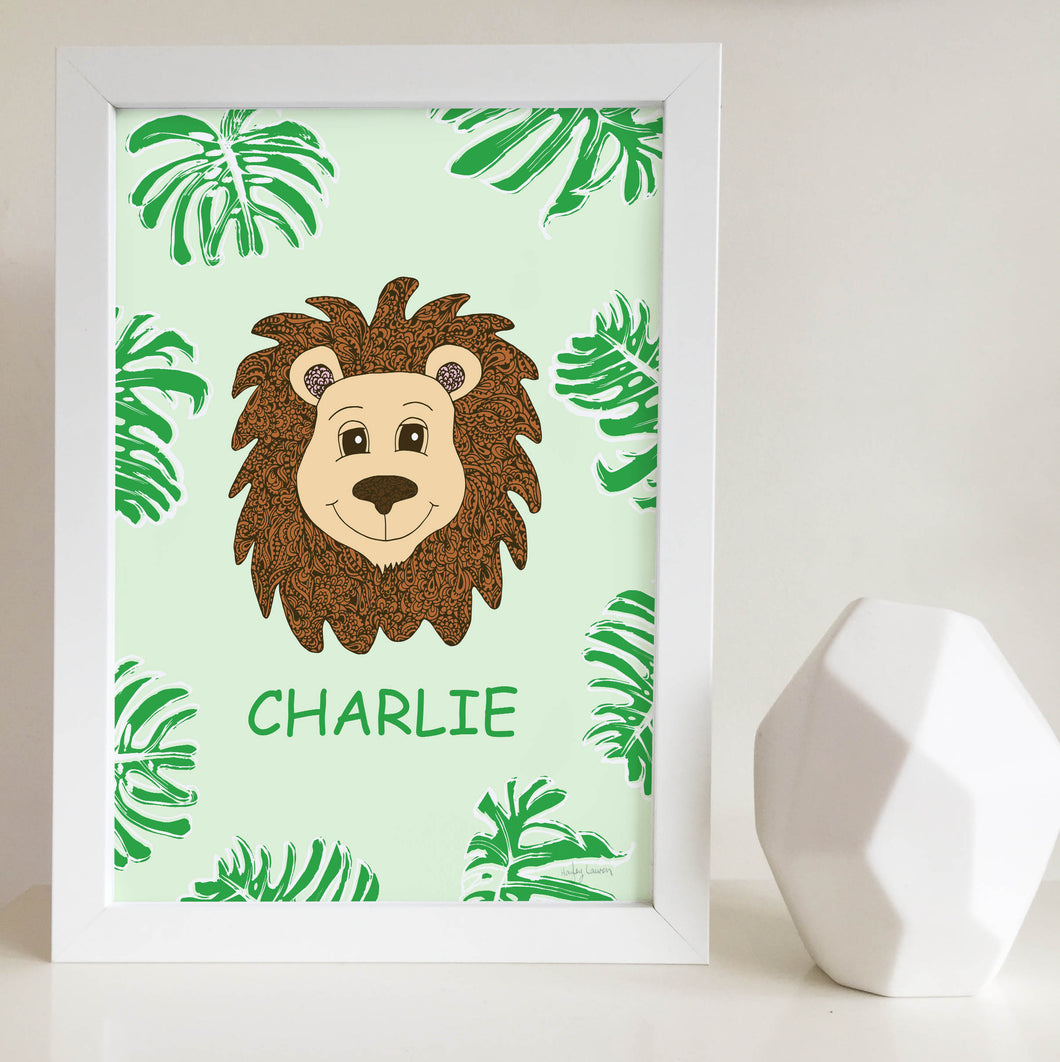 3638416325a7a Jungle Animal Nursery and Bedroom Wall Art Print with Custom Name ...