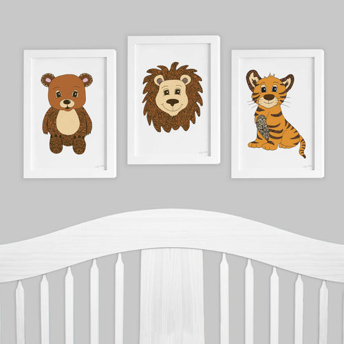 Lion Tiger Bear Set of 3 nursery kids room prints