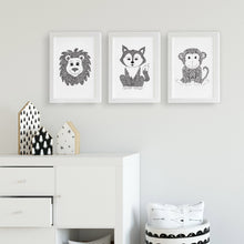 fox monkey lion cute zentangle black and white artwork idea for baby room, toddler, kids bedroom shared unisex playroom by hayley lauren design free shipping australia wide