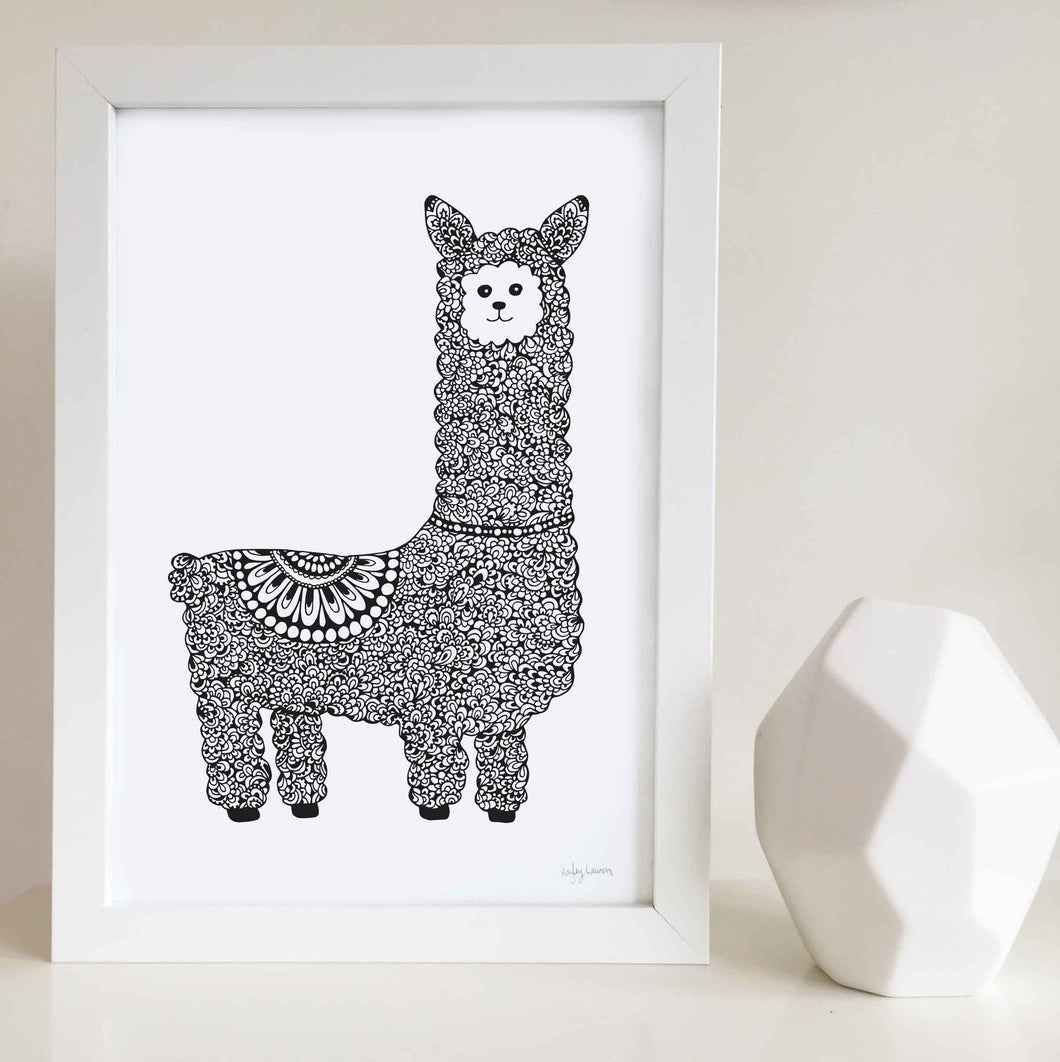 Liam the Llama Nursery or Kids Room Art Print