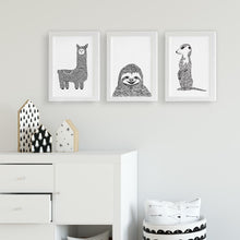 llama sloth and meerkat nursery or kids bedroom art prints by Hayley Lauren Design
