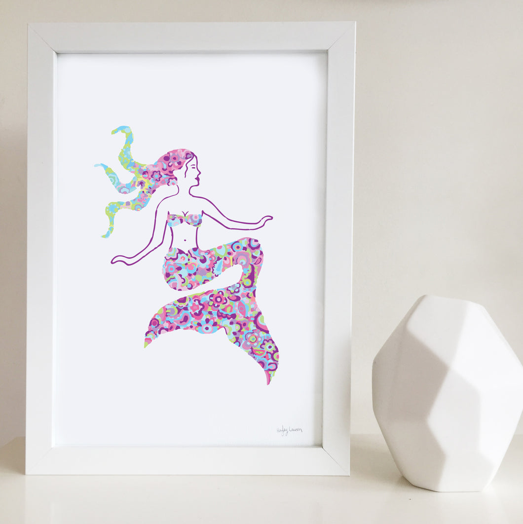 Mermaid Nursery or Bedroom Wall Art