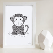 Monkey nursery print for baby room by Hayley Lauren Design