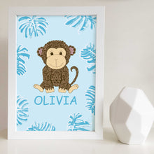 Jungle Animal Nursery and Bedroom Wall Art Print with Custom Name