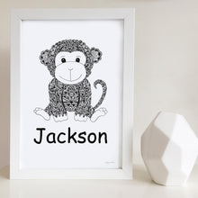 Monkey nursery art print for baby or kids room