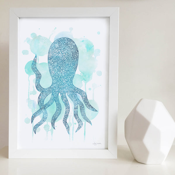 octopus blue water colour zentangle art print for nursery, baby, toddler, kids room and play room beach house by Hayley Lauren Design Free shipping Australia Wide