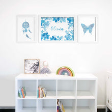 blue water colour baby room art prints by Hayley Lauren Design
