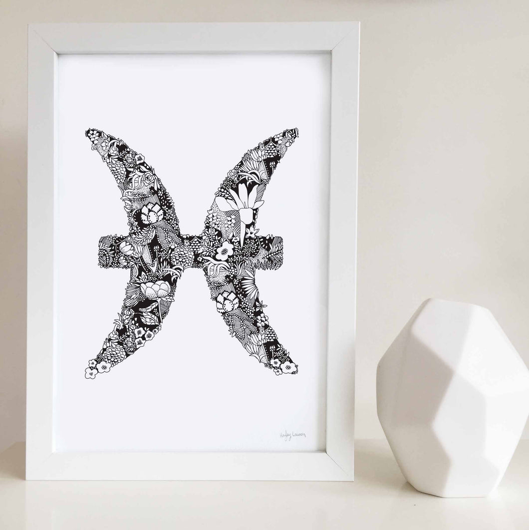 Pisces star sign art print made with flowers by Hayley Lauren design