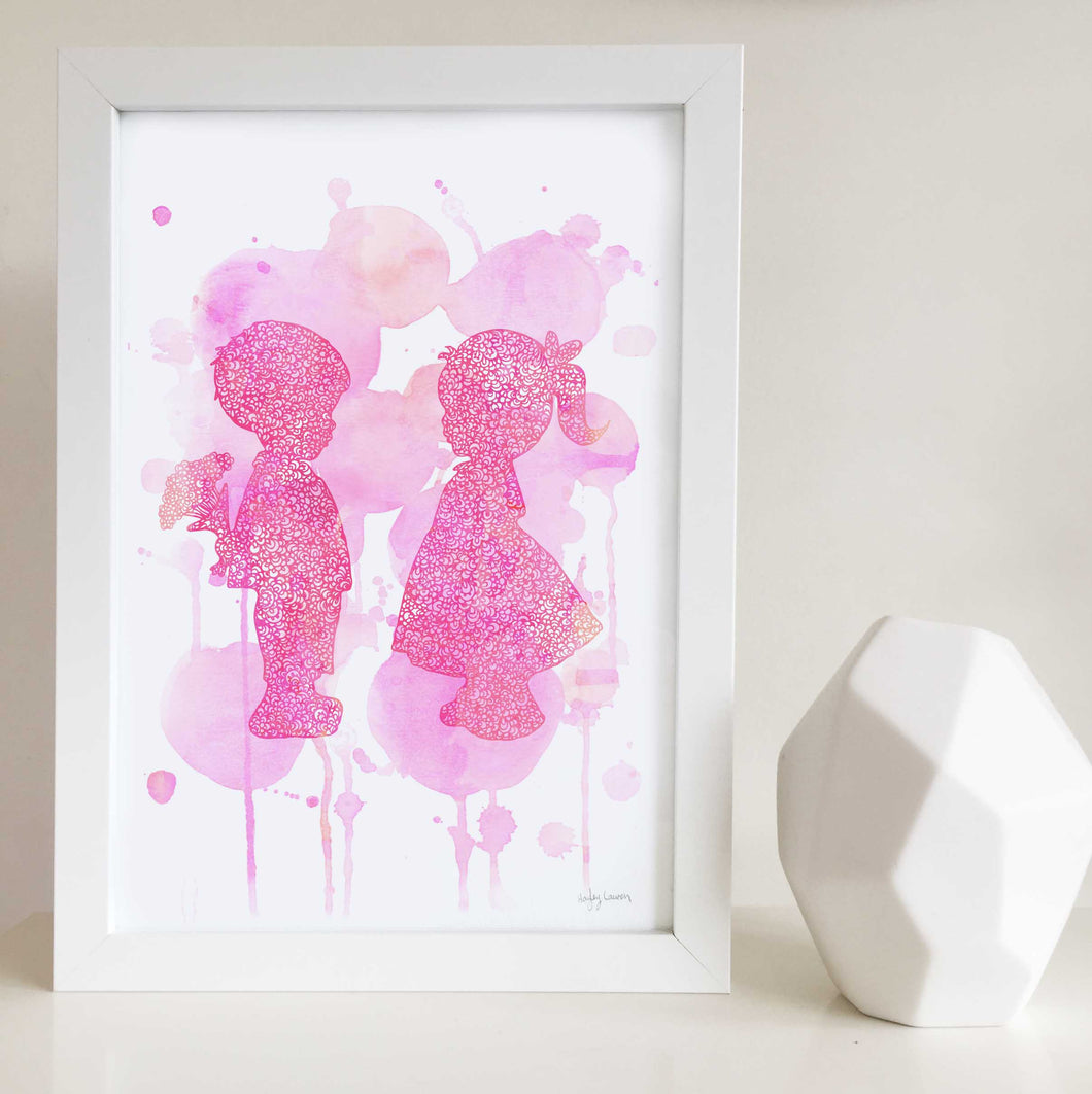 Young Love Pink Art Print