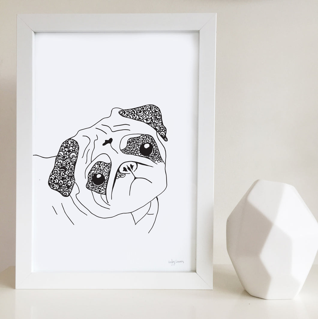 Pug artwork by Hayley Lauren Design