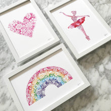 heart ballerina and rainbow art prints by Hayley Lauren Design  perfect for a little girls nursery and kids bedroom free shipping australia wide
