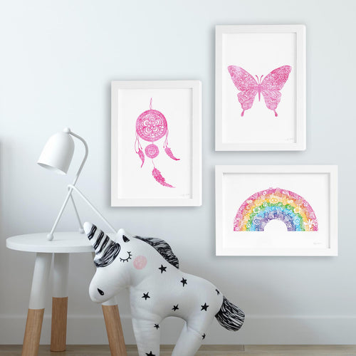 Colourful Kids Room Collection Art Prints - Set of 3