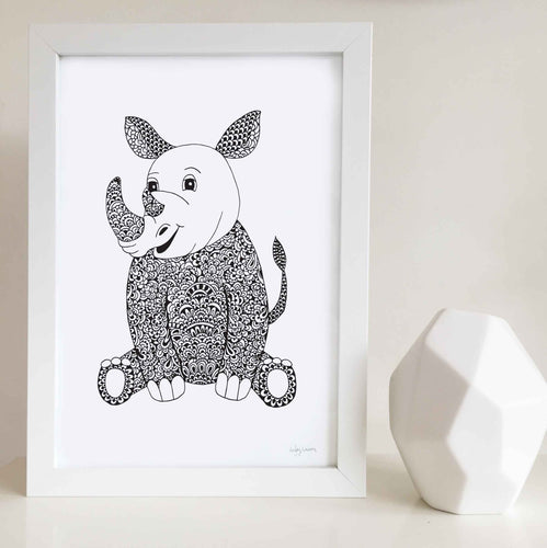 Ruby the Rhino Nursery or Kids Bedroom Art Print