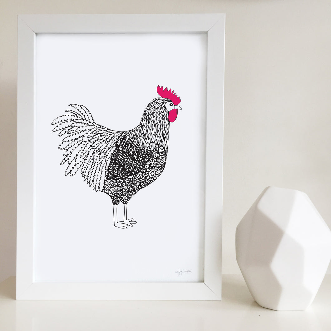 Roger the Rooster Nursery or Kids Room Art Print