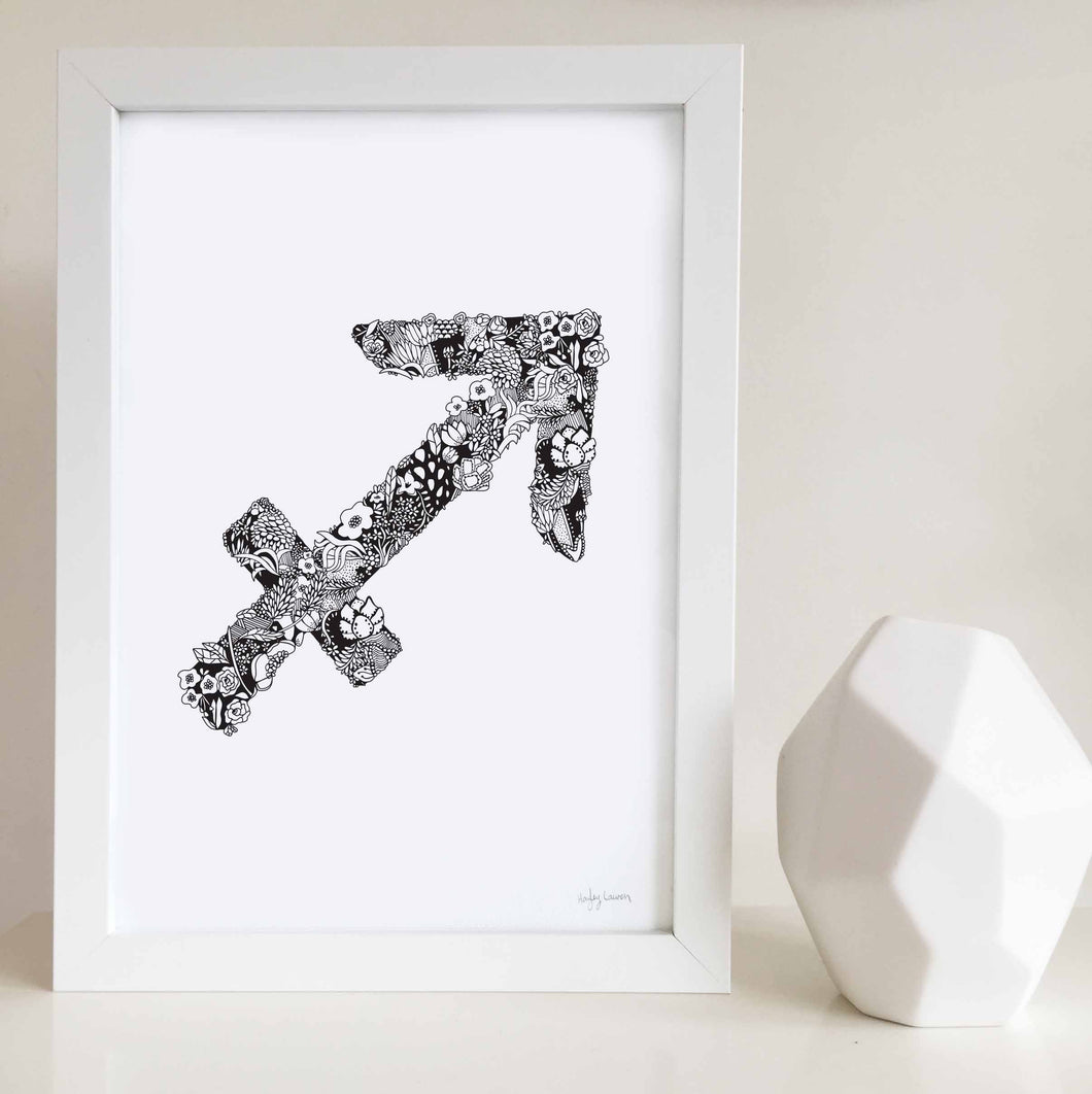 Sagittarius star sign art print by Hayley Lauren design illustrated with flowers