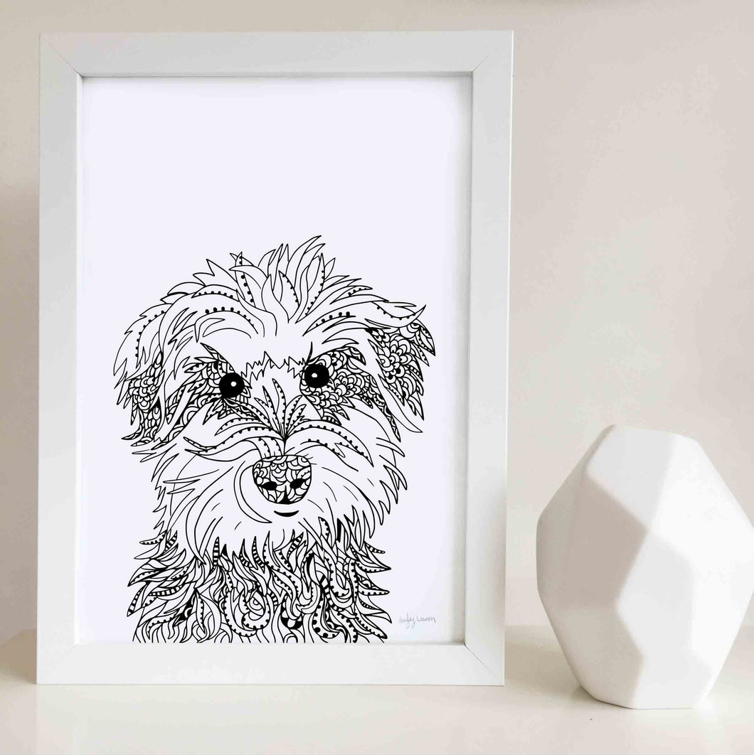 schnauzer dog art print zentangle
