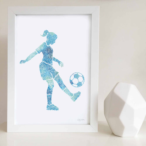 soccer girl wall art print for girls bedroom by Hayley Lauren Design