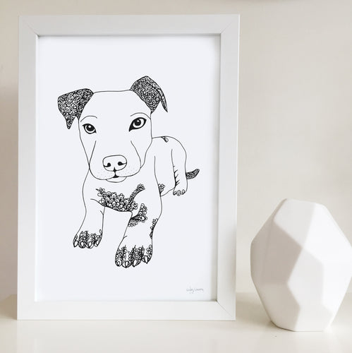 staffy dog art print zentangle