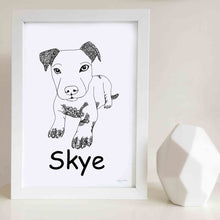 custom staffy dog art print zentangle