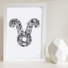 Taurus star sign art print made with flowers by Hayley Lauren Design