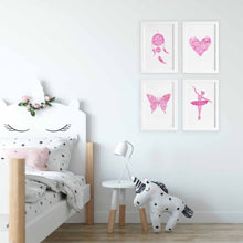 pink themed nursery and kids bedroom art prints dreamcatcher heart butterfly ballerina by Hayley Lauren Design