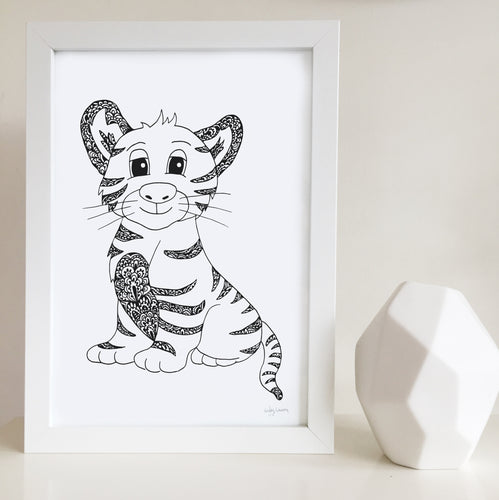 Timmy the Tiger Nursery or Kids Bedroom Art Print
