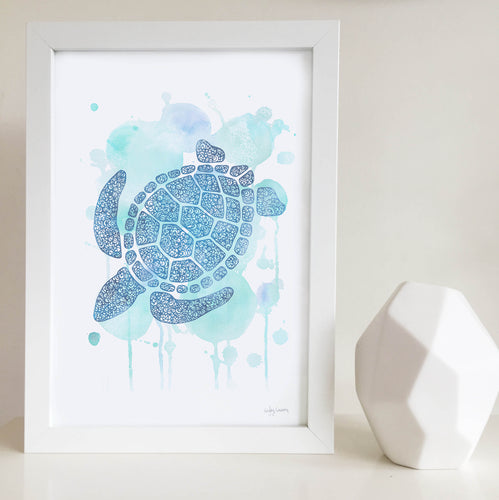 Turtle blue water colour zentangle illustration unisex artwork for nursery or kids bedroom australia