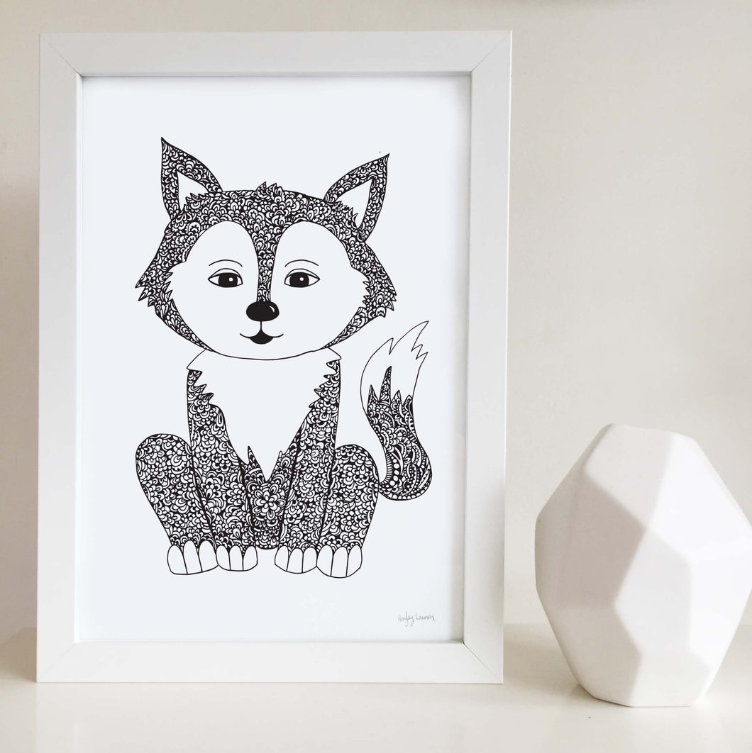fox cute zentangle black and white artwork for baby room, toddler, kids bedroom shared unisex playroom by hayley lauren design free shipping australia wide