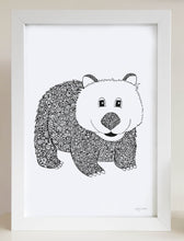 nursery or bedroom wall art of a happy wombat by hayley lauren design