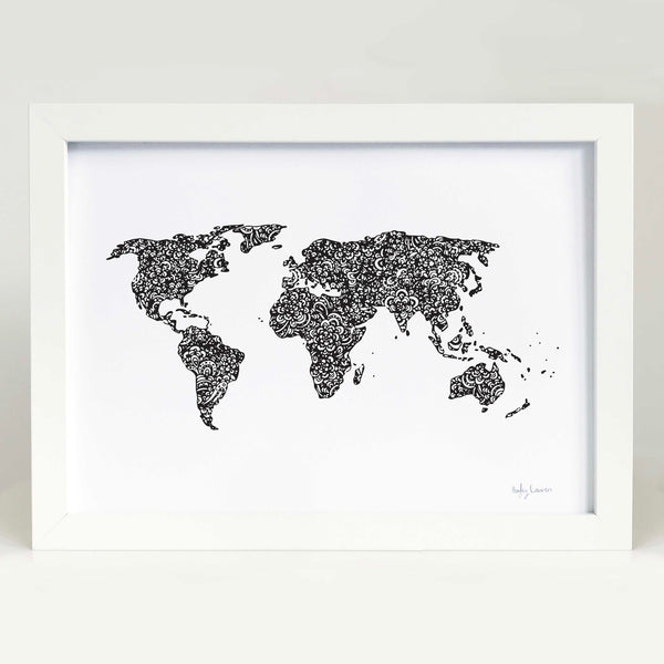 World Map in black Art Print