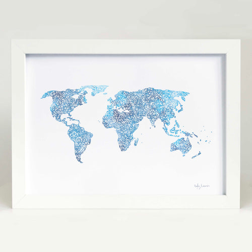 World Map in Blue Art Print