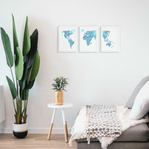 World Map Triptych Art Prints