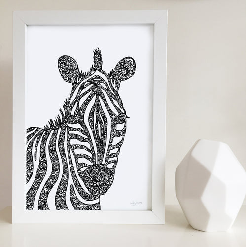 Zebra art print designed by Hayley Lauren
