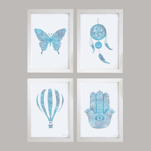 Zen Blue Watercolour prints by Hayley Lauren Design